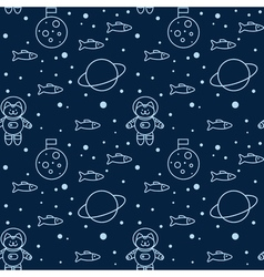 Seamless pattern with cat in space the Moon and vector image vector image