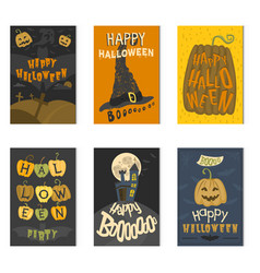 set of happy halloween greeting card vector image vector image