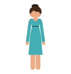 Silhouette woman in dress without face vector