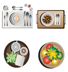 Table decoration top view set 1 vector image