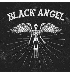 Vintage label with black angel vector