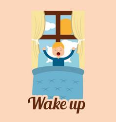 Wake up little boy in bed and window sun day vector