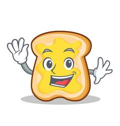 waving slice bread cartoon character vector image vector image