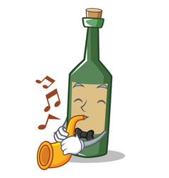 With trumpet wine bottle character cartoon vector