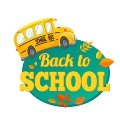 Yellow school bus and text vector image vector image