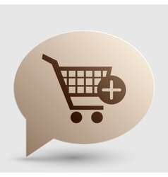 Shopping cart with add mark sign brown gradient vector