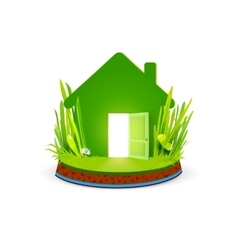 Green eco home with open door vector