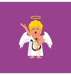 Angel with harp sings a song vector