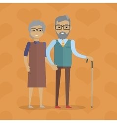 Elderly couple in flat design vector