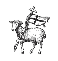 Lamb with Cross Religion symbol Sketch vector image