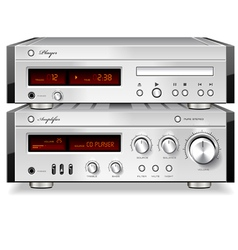 Music stereo audio cd player with amplifier vector