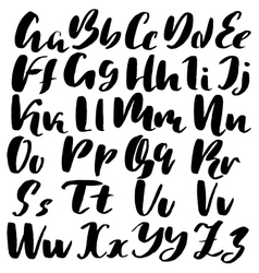 Hand drawn font made by dry brush strokes grunge vector