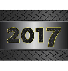2017 on metallic diamond over brushed metal panel vector