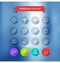 Hospital blur background with flat icons set vector