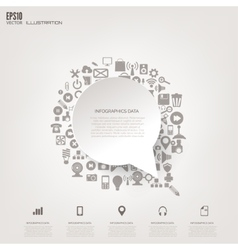 Cloud computing background with web icons social vector