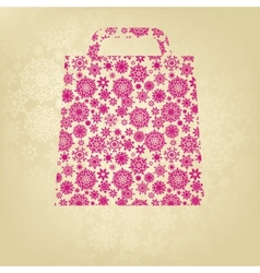 Pink christmas bag with golden snowflakes eps 8 vector