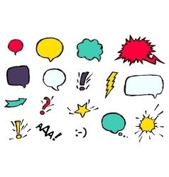 Set dynamic comic speech bubbles different emotion vector