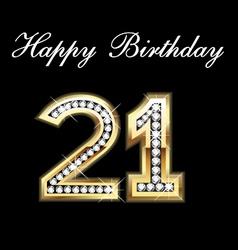 21th happy birthday vector image