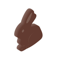 Chocolate easter bunny isometric 3d icon vector