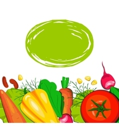 Template card with vegetables vector
