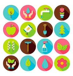 Spring gardening circle icons set with long shadow vector