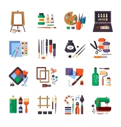 Art tools and materials icon set vector