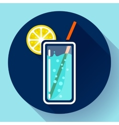 Glass of water with lemon icon flat 20 designe vector