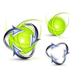 arrows orbiting spheres vector image vector image