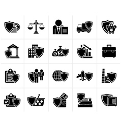 Black business and industrial insurance icons vector