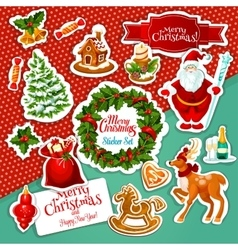 Christmas holiday sticker set for festive design vector
