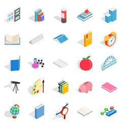 college school house icons set isometric style vector image