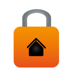 Colorful padlock with silhouette house inside vector