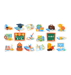 Colorful school objects for education concept vector