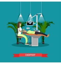 Dentist works with patient poster dental vector