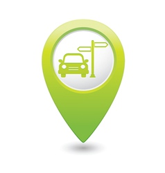 Direct car green map pointer vector