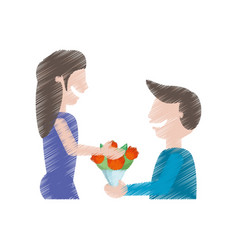 Drawing man gifting flowers woman vector