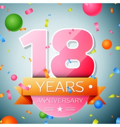 Eighteen years anniversary celebration background vector