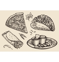 fast food Hand drawn pizza sandwich tacos vector image