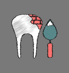 Flat shading style icon tooth repair vector