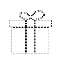 Gift box sign black dashed icon on white vector