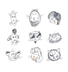 Hand drawn cat icons vector