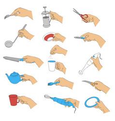 hands with kitchen utensils vector image vector image