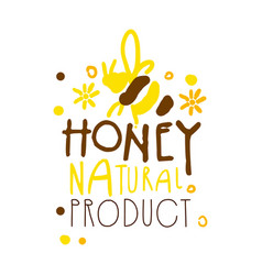 Honey natural product logo colorful hand drawn vector