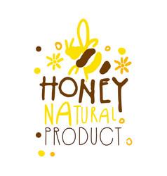 honey natural product logo colorful hand drawn vector image vector image