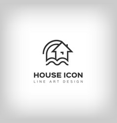 house logo home icon thin line art design vector image vector image