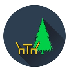 Icon of park seat and pine tree vector image vector image