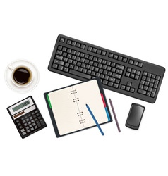 keyboard with notepad vector image vector image