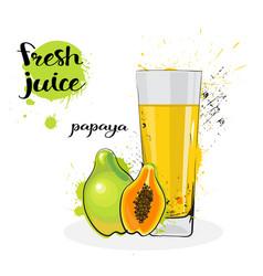 Papaya juice fresh hand drawn watercolor fruits vector