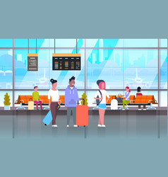passangers in airport with baggage at waiting hall vector image vector image