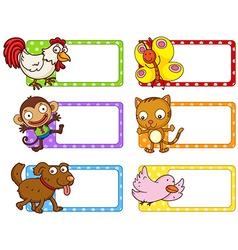 Polka dot labels with cute animals vector